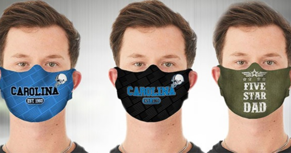 three men wearing carolina mask and five star dad