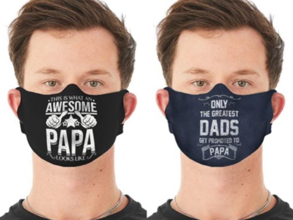two men wearing dad theme face masks