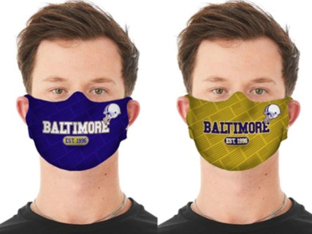 two men wearing baltimore theme masks