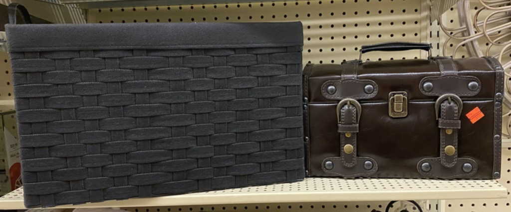large black woven chest and small brown chest with buckles