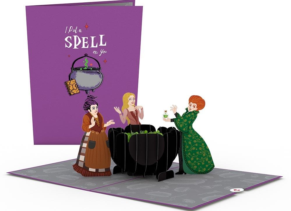 Disney Hocus Pocus card with witches by a cauldron