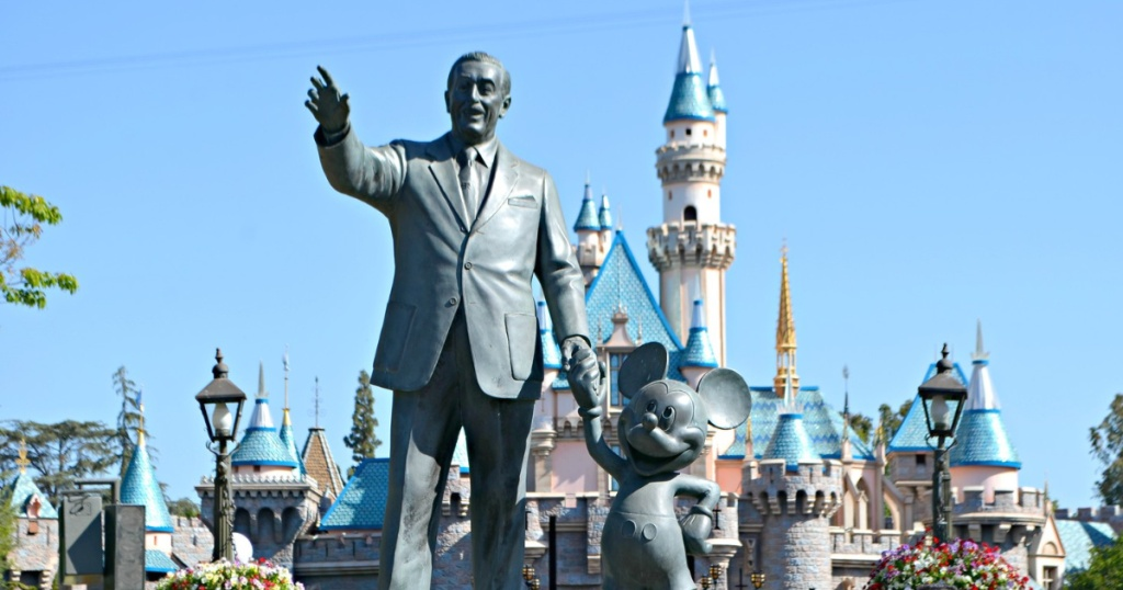 Walt Disney and Mickey Mouse statues at Disneyland