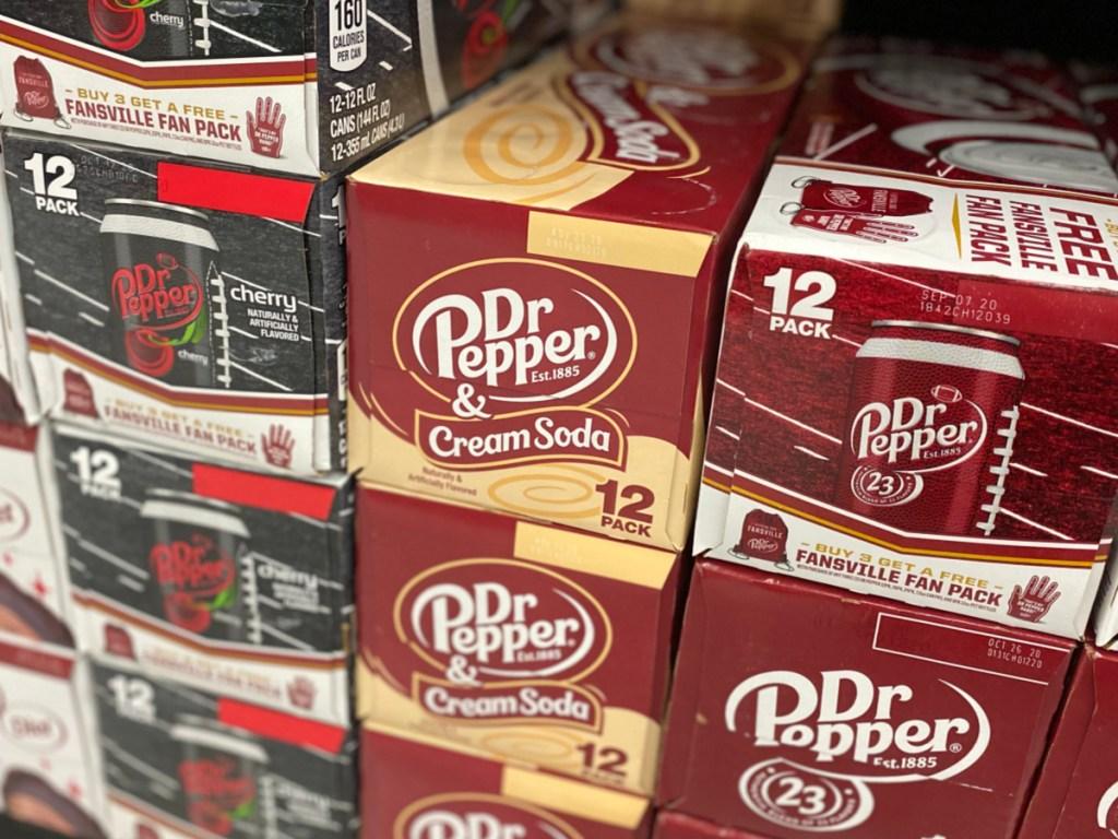 Dr. Pepper & Cream Soda stacked on store shelf