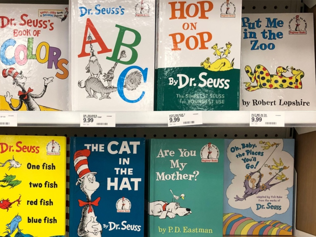 Dr. Seuss Board Books sitting in store on a shelf display (2)