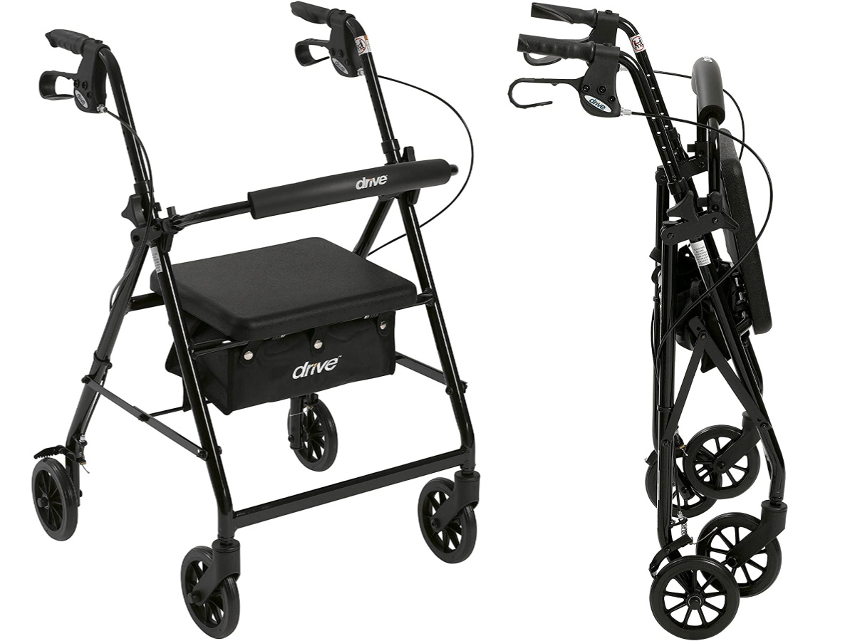 drive medical walker front view and folded view