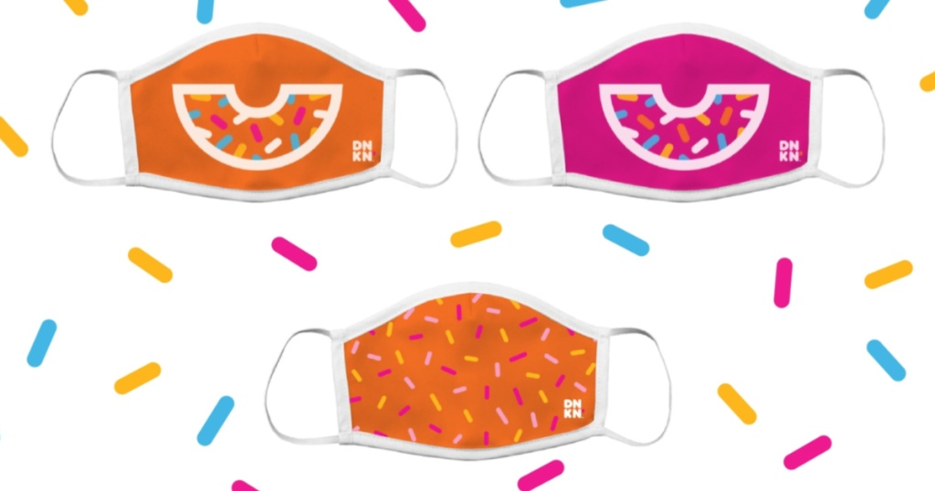 three Dunkin' face masks