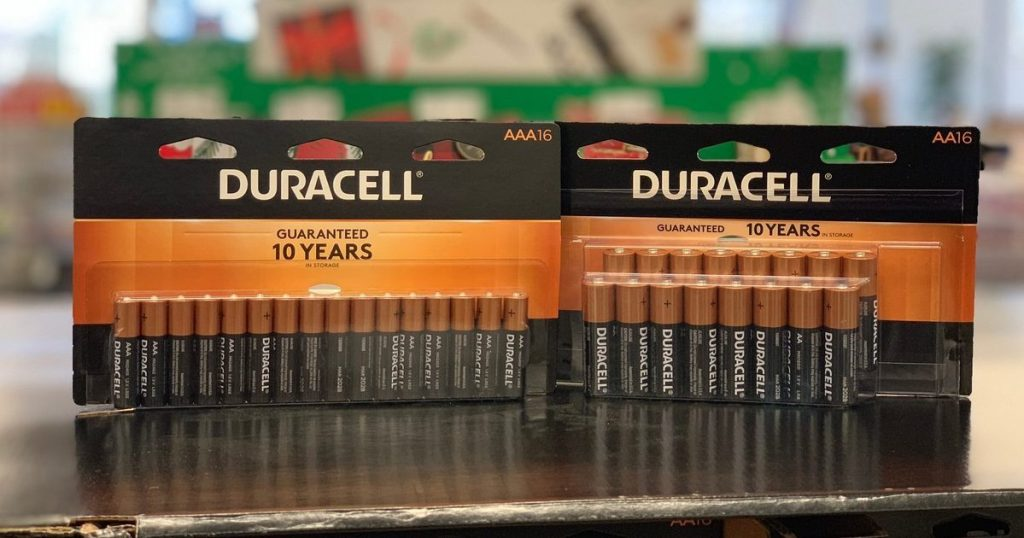 pack of Duracell AAA and AA 16 Count on counter
