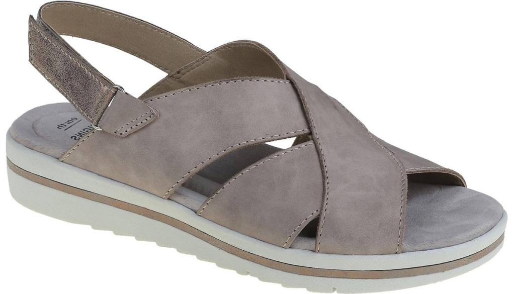 grey and white sandals