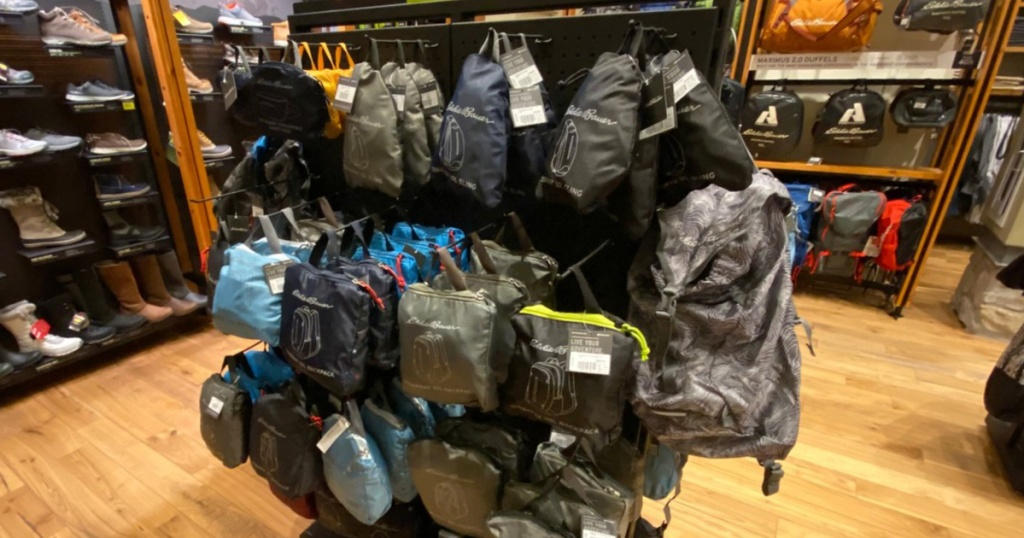 Eddie Bauer Stowaway Packable bags display in store