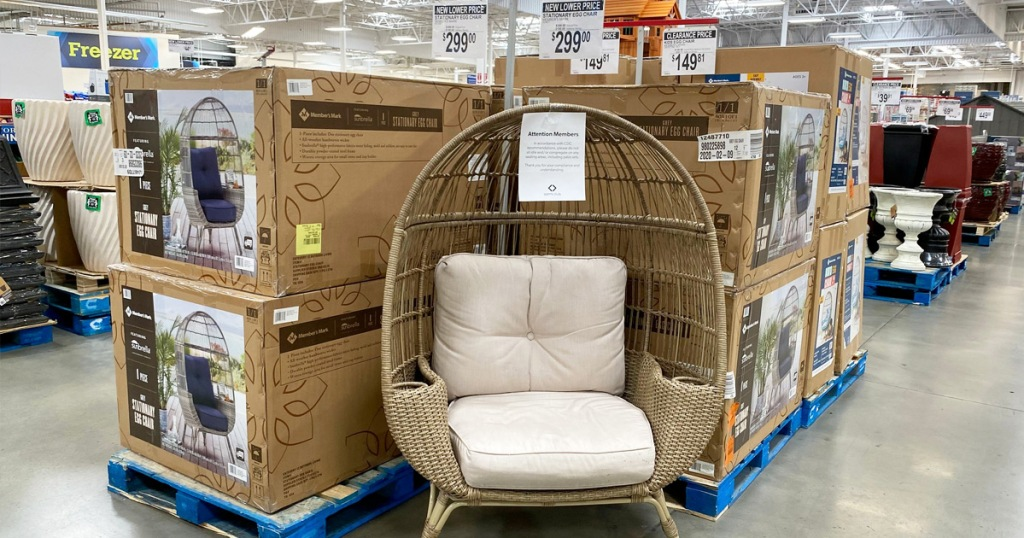 round egg-shaped chair on display inside sams club store