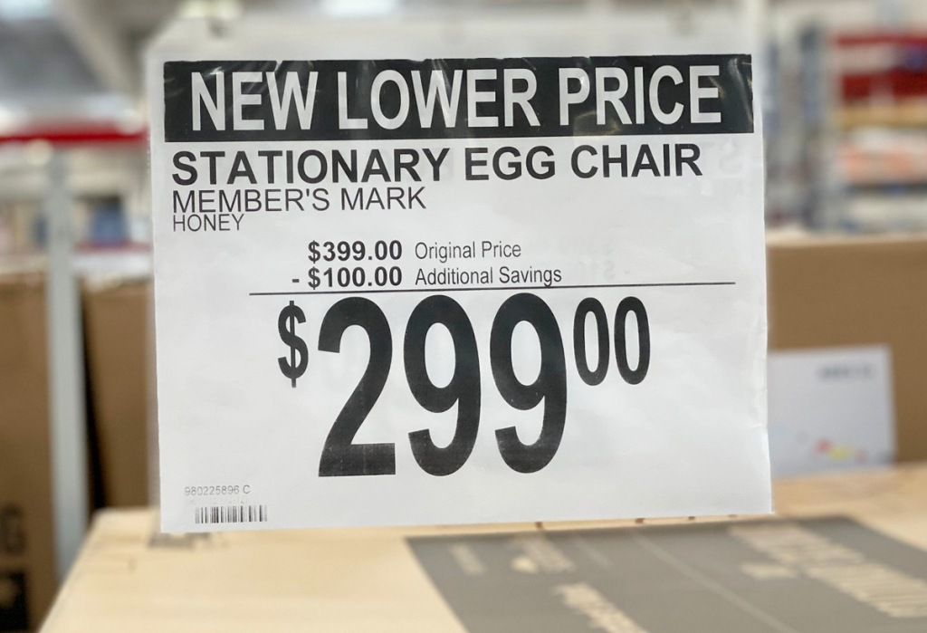 sams club sale sign showing patio chair $100 off