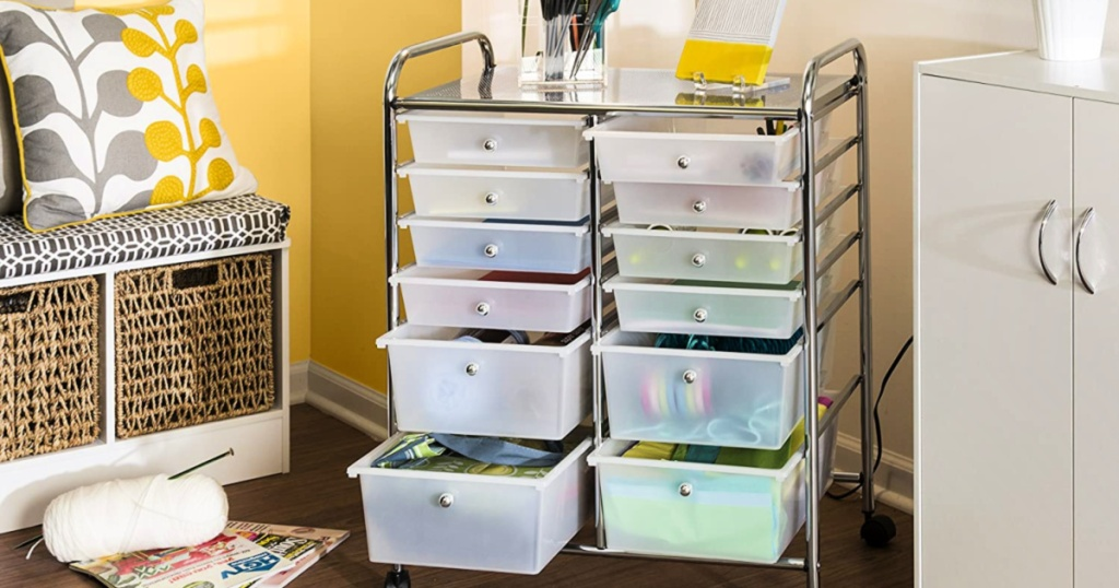 Honey-Can-Do Rolling Storage Cart and Organizer in home with supplies