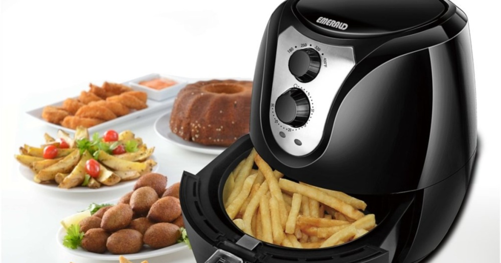 Best Air Fryer - Emerald 3.2-Liter Air Fryer with all kinds of food on table