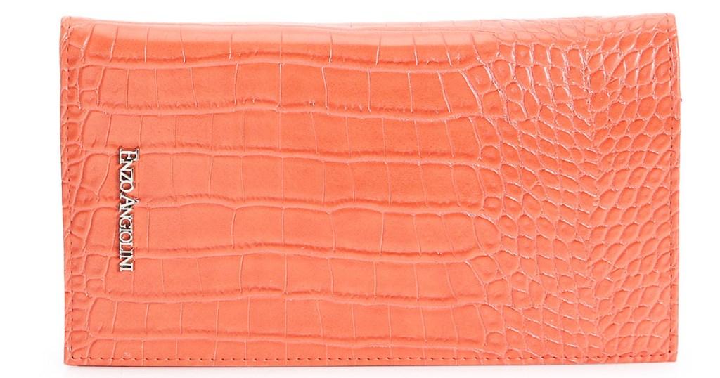 orange snakeskin clutch