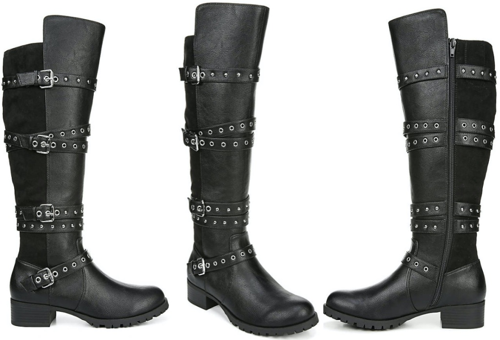women's tall belted black boot