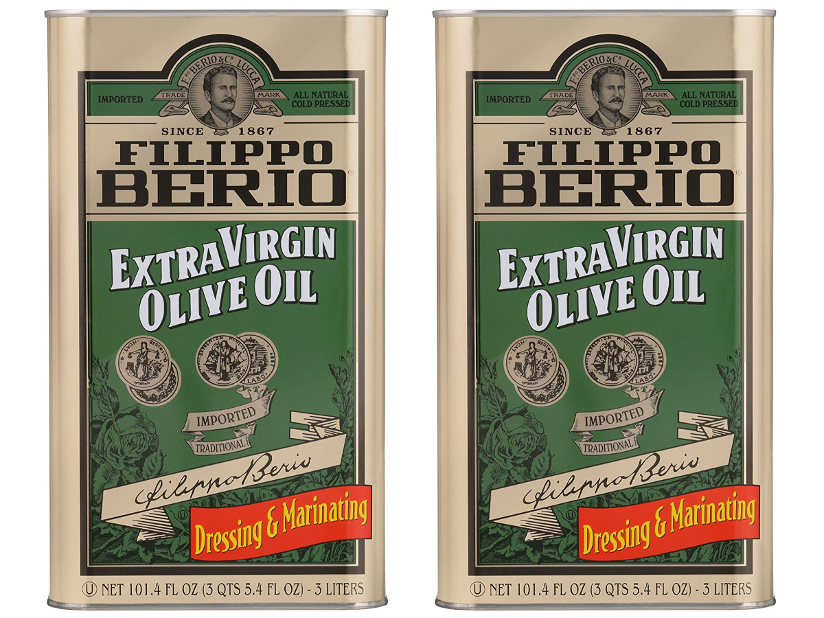 two large tins of extra virgin olive oil