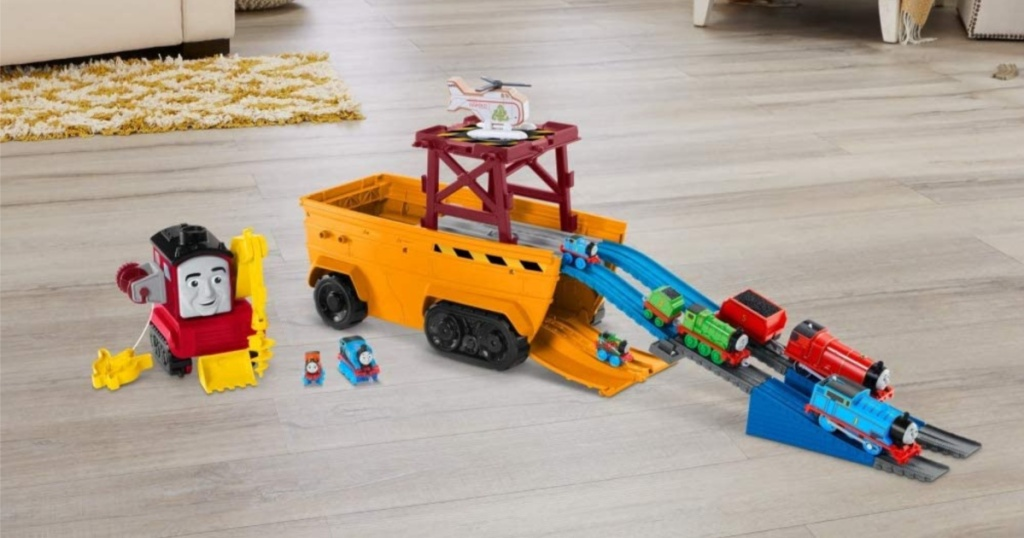 toy train set on floor in home