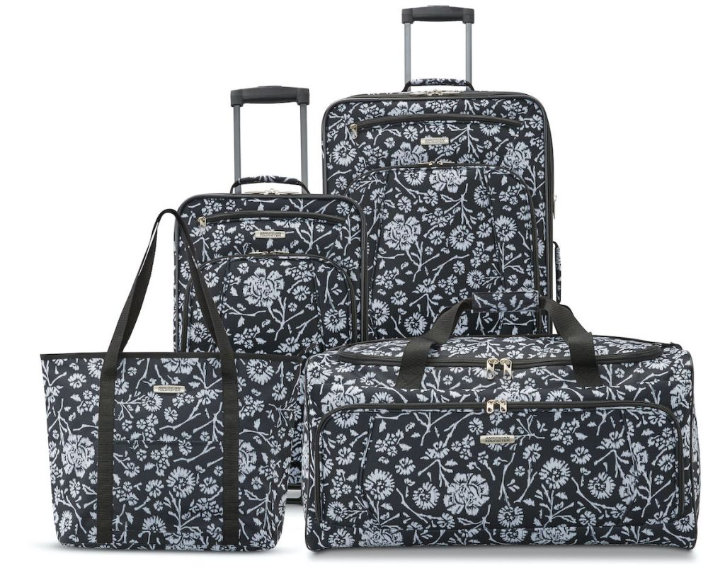 black, white, and grey floral Floral American Tourister Riverbend SEt