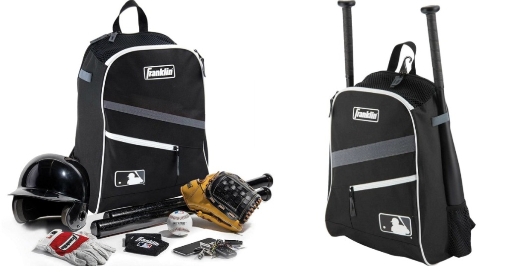 two images of a baseball bag and baseball glove, helmet and accessories