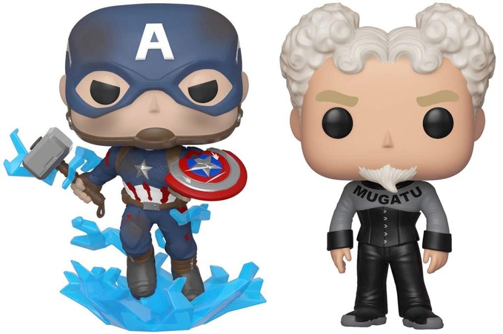 funko pop figurines of captain america and mugatu from zoolander