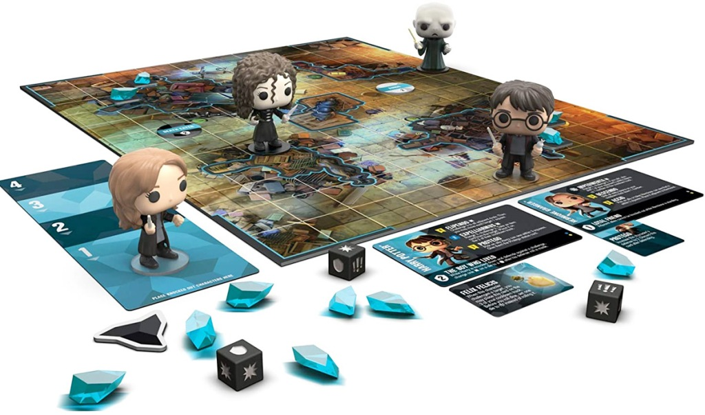 harry potter board game with characters in funko pop form