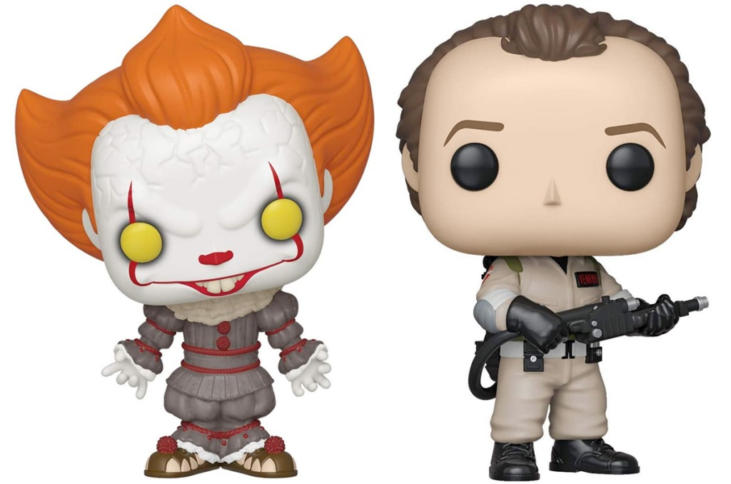 funko pop figurines of pennywise and venkman from ghostbusters