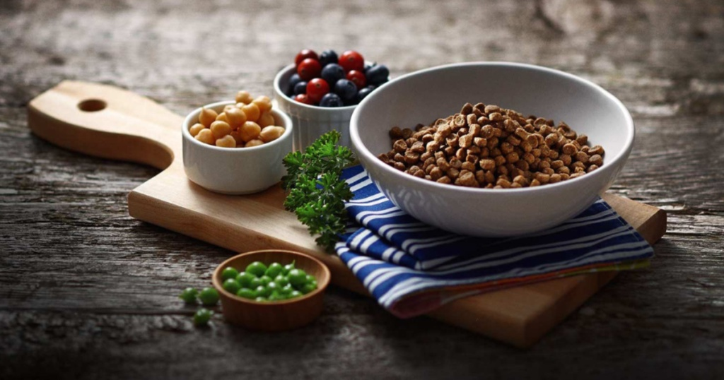 dry cat food in bowl and ingredients in bowls around it on wood cutting board on table