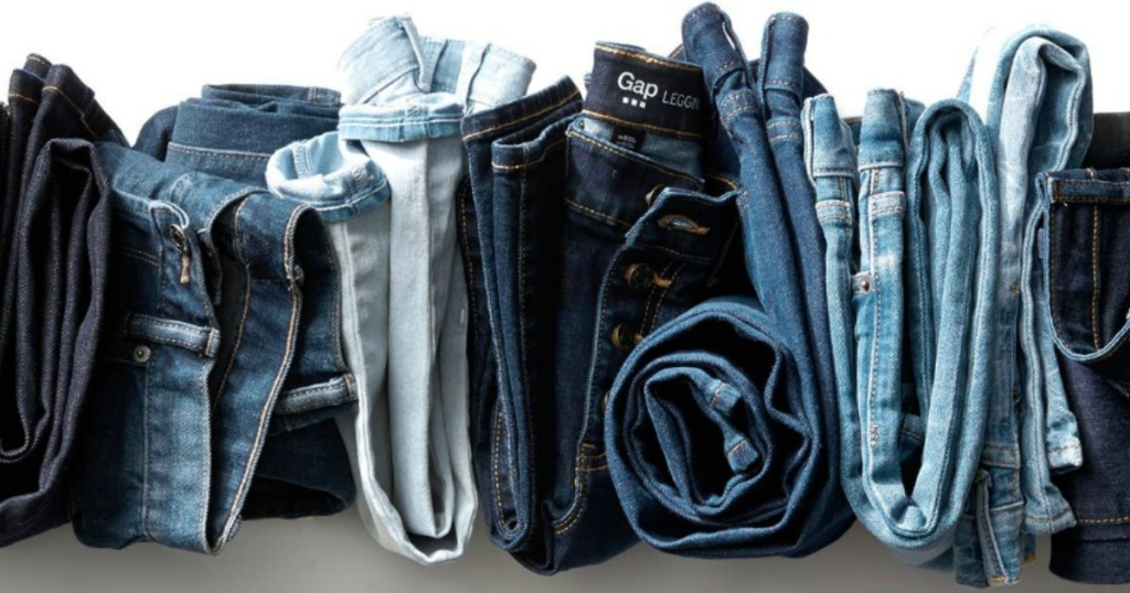 row of folded GAP jeans