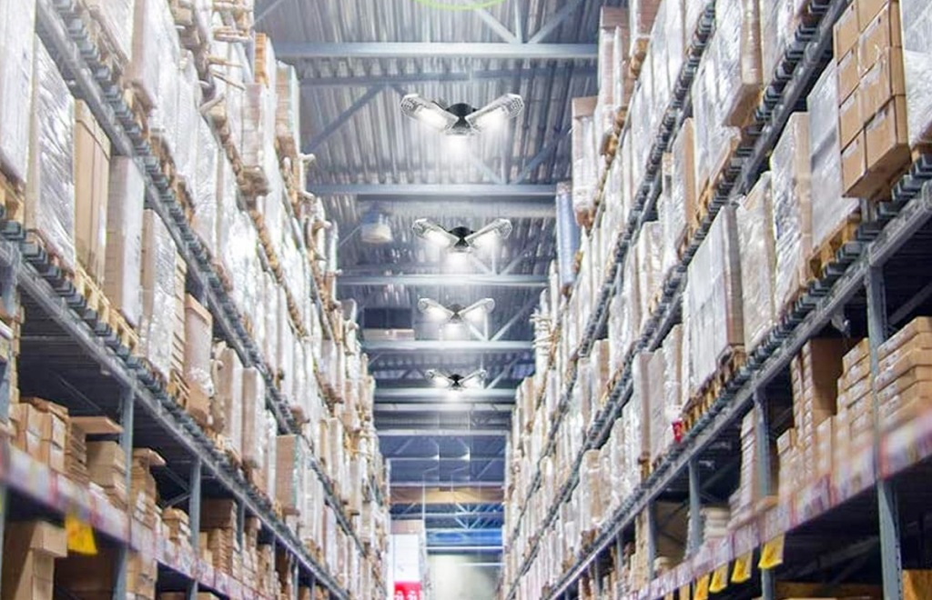 photo looking down warehouse aisle with led lights on ceiling