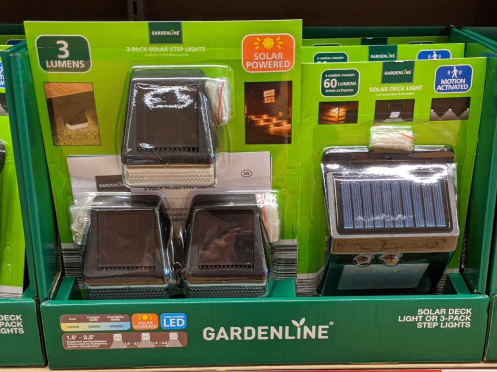 solar deck lights pack in box in store