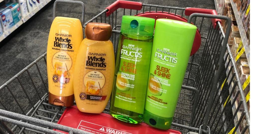 two bottles of garnier whole blends and two bottles of garnier frutis in cart at cvs