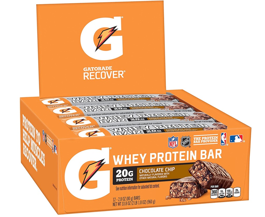 orange box of gatorade whey protein bars in silver wrappers
