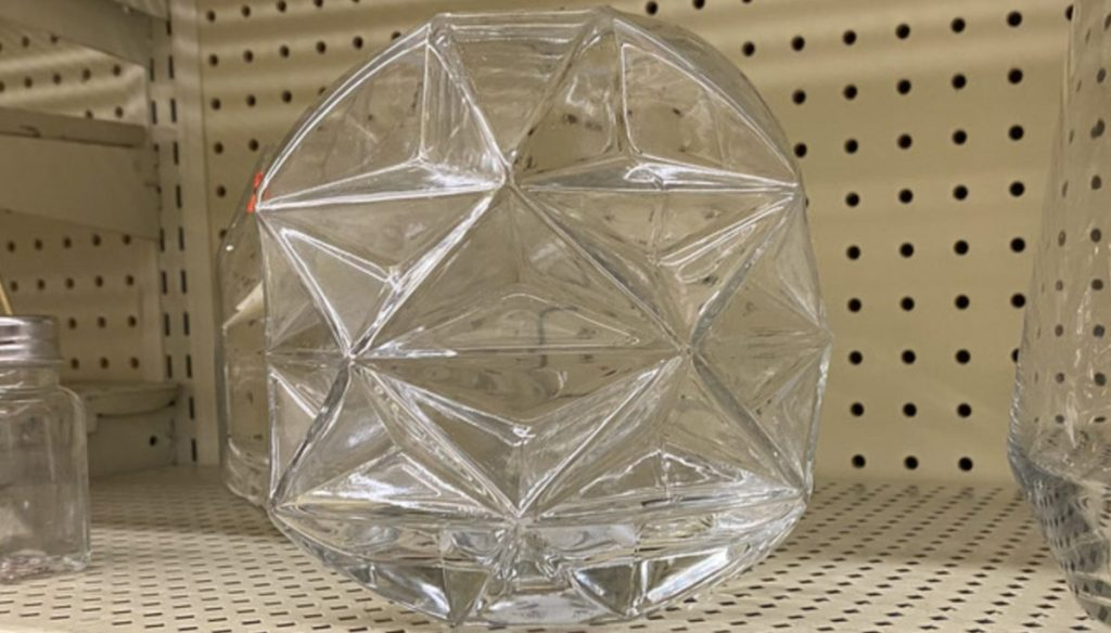 geometric sphere vase on store shelf