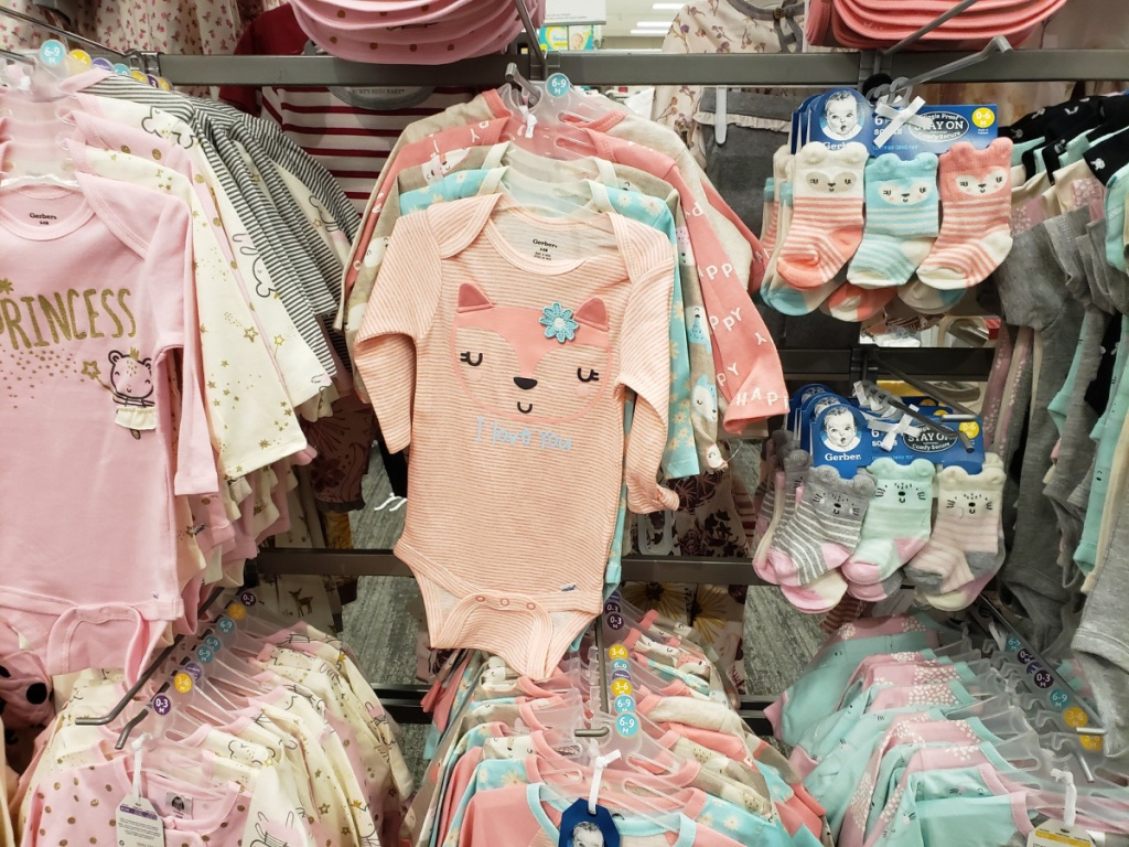 fox 5-pack bodysuits hanging in-store