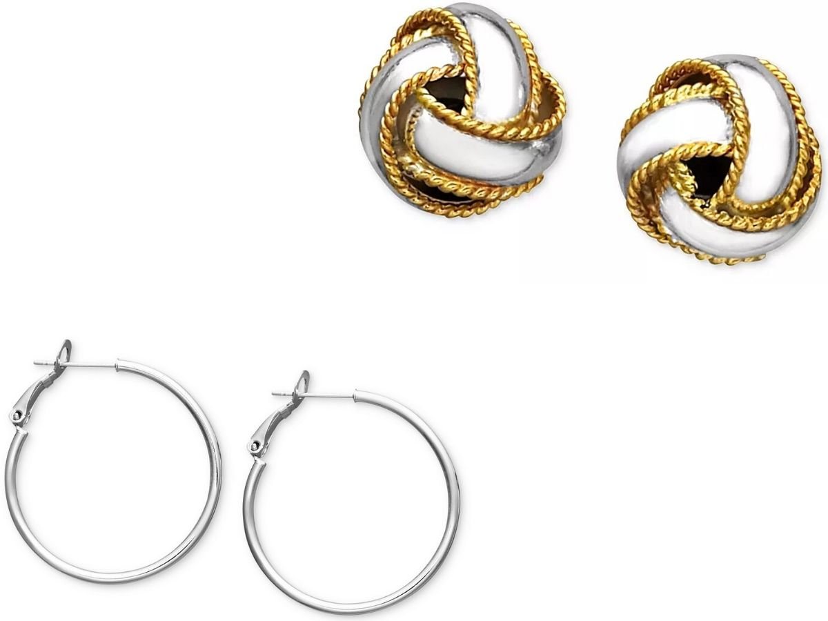 silver hoop earrings and silver and gold love knot earrings
