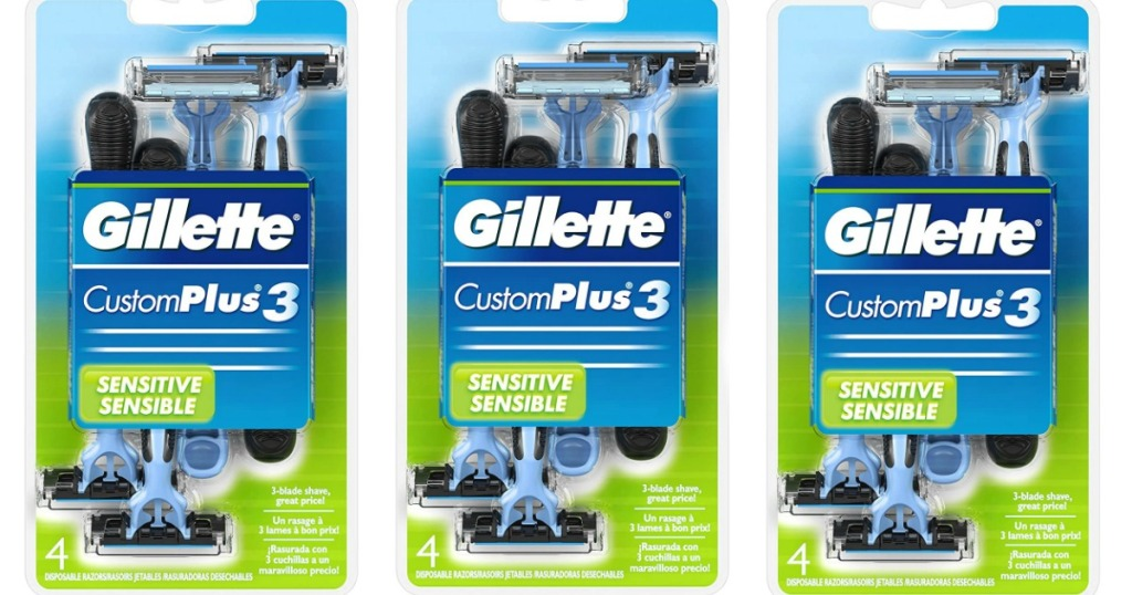 three packages of Gillette razors