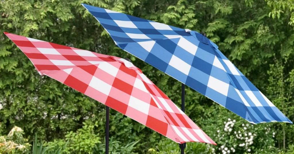 two gingham umbrella tops