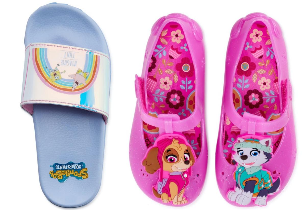 girls pink Paw Patrol jelly sandals and girls blue Spongebob slides