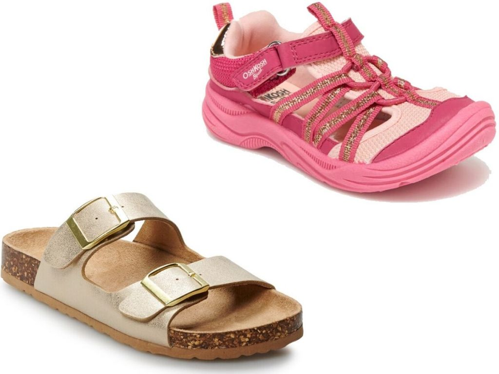 two right foot sandals for girls