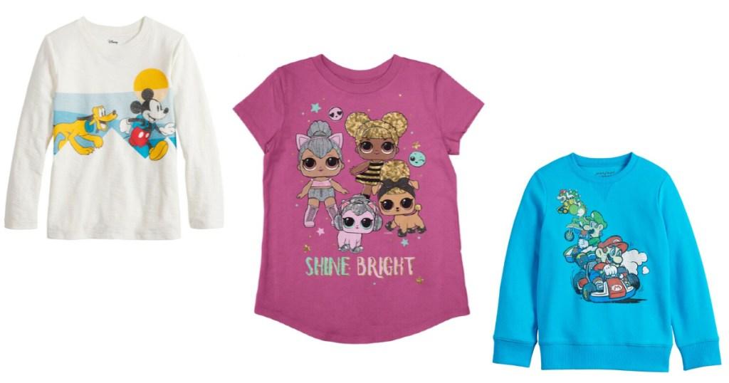 Girls and boys shirts Mickey, L.O.L. and Mario