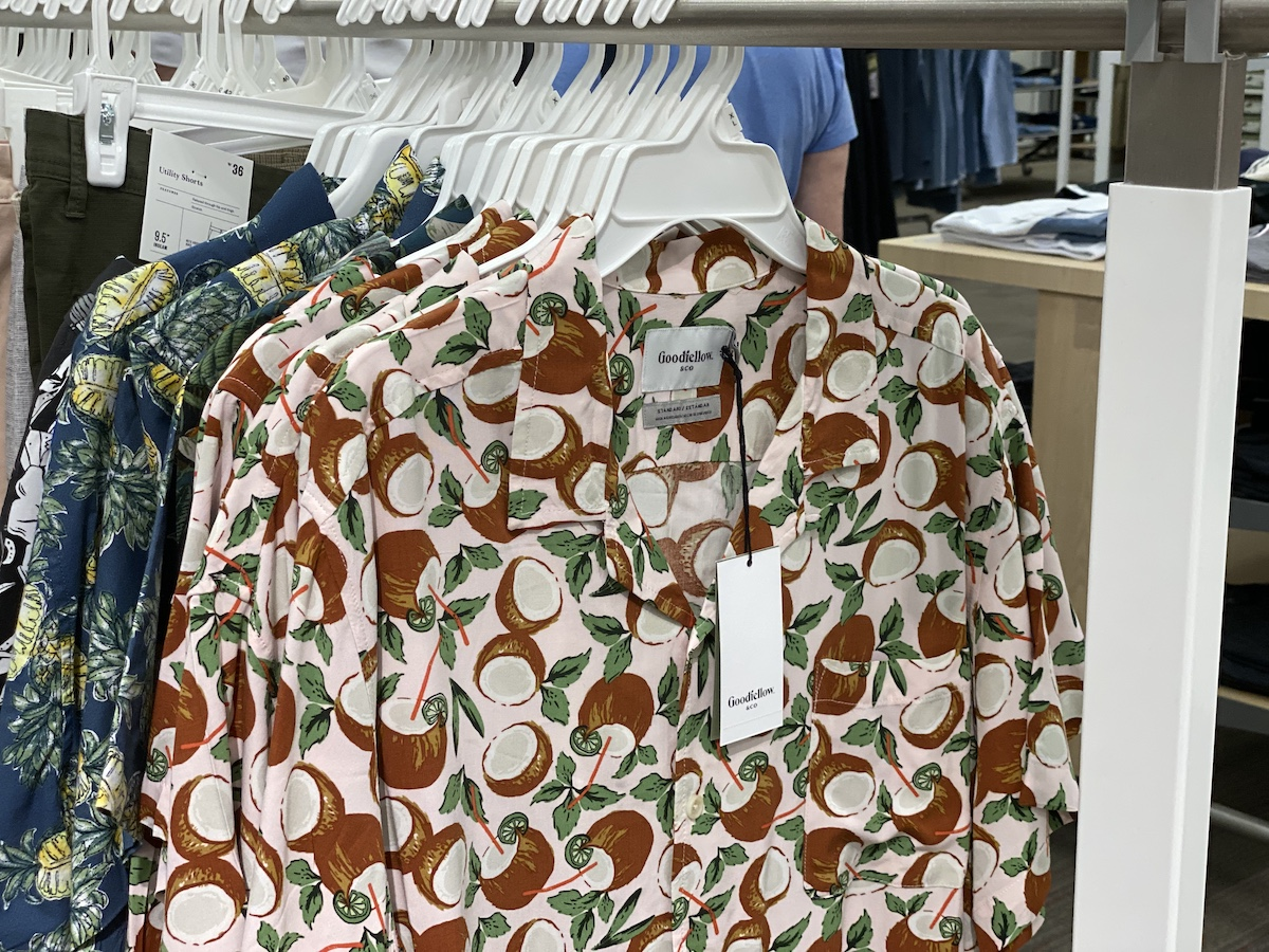 Goodfellow & Co Men's Short Sleeve Button-Down Shirts with coconuts