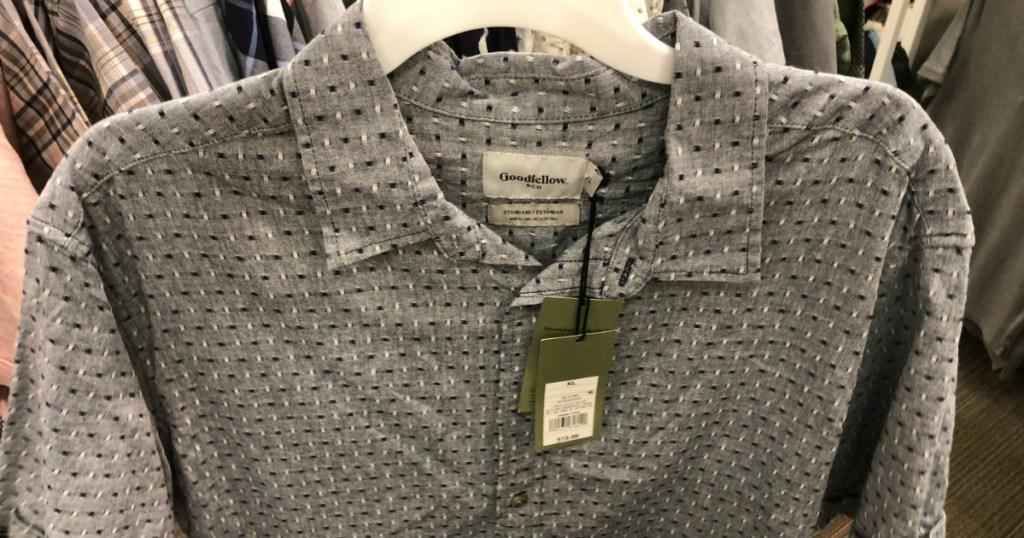 men's button-down shirt on a hanger