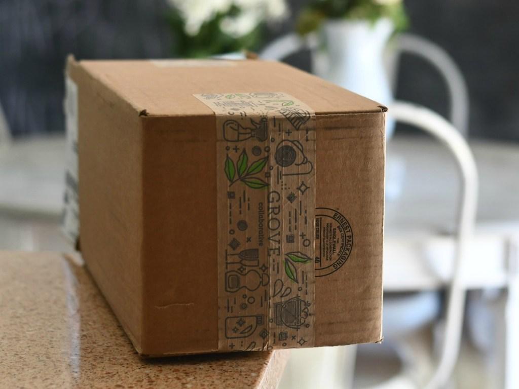 unopened box on counter