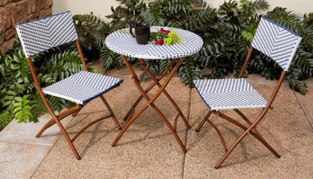 Hampton Bay French Cafe 3-Piece Wicker Folding Bistro Set