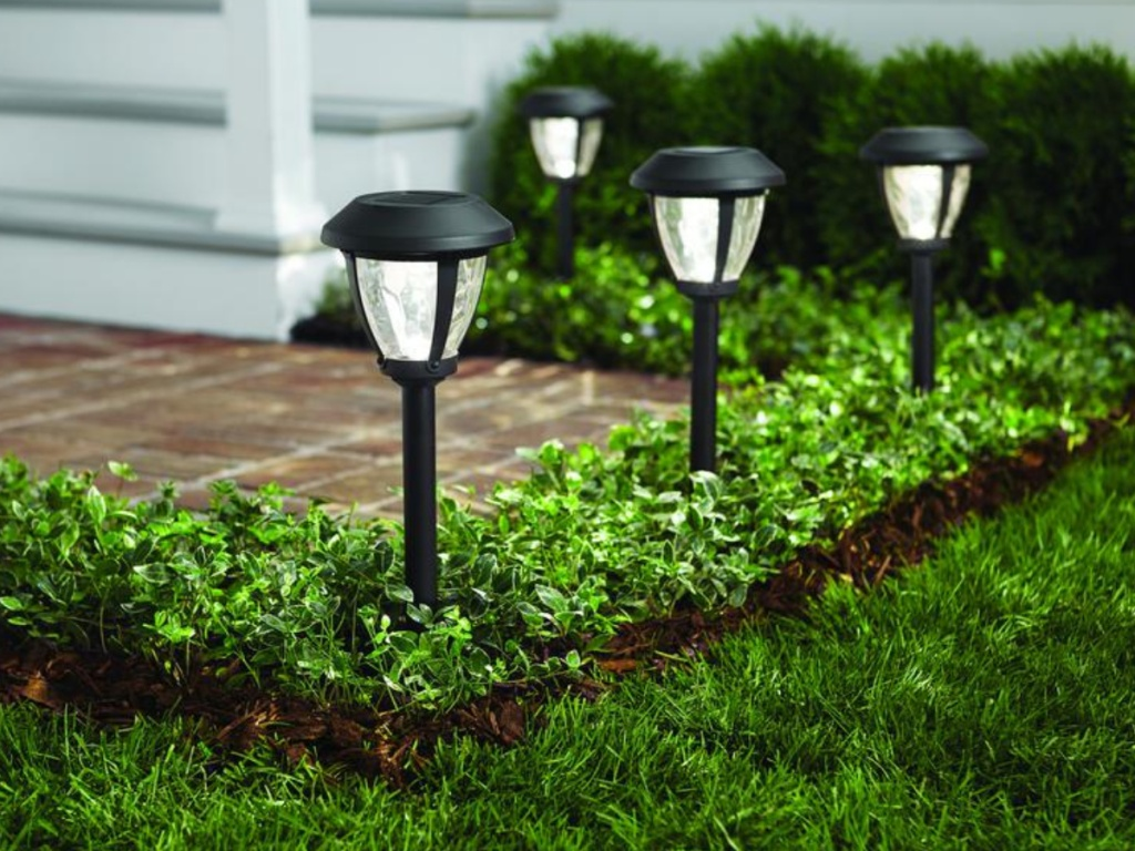 four pathway lights outside home