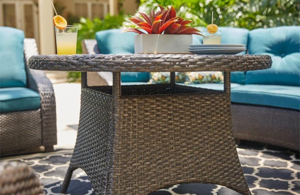 Hampton Bay Torquay Brown Outdoor Dining Table with Wicker Top