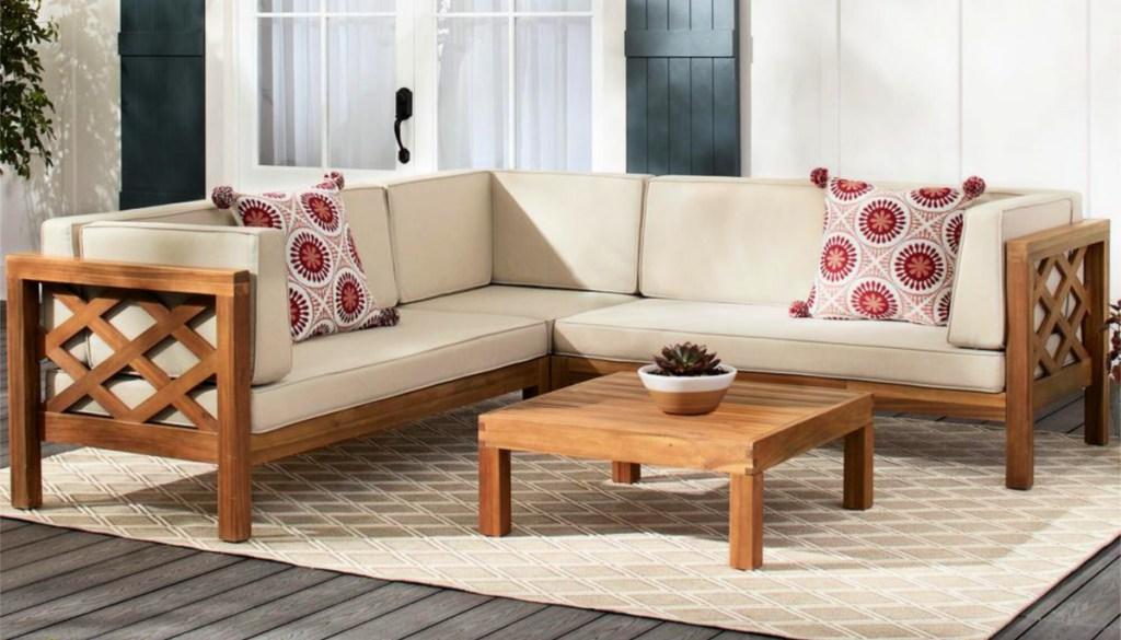 Hampton Bay Willow Glen Farmhouse Wood Sectional Sofa with Teak Finish