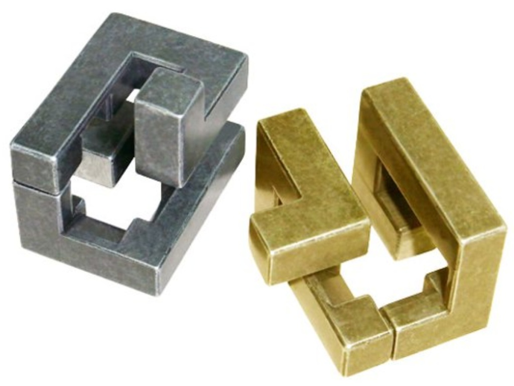 gold and silver Hanayama Cast Puzzle