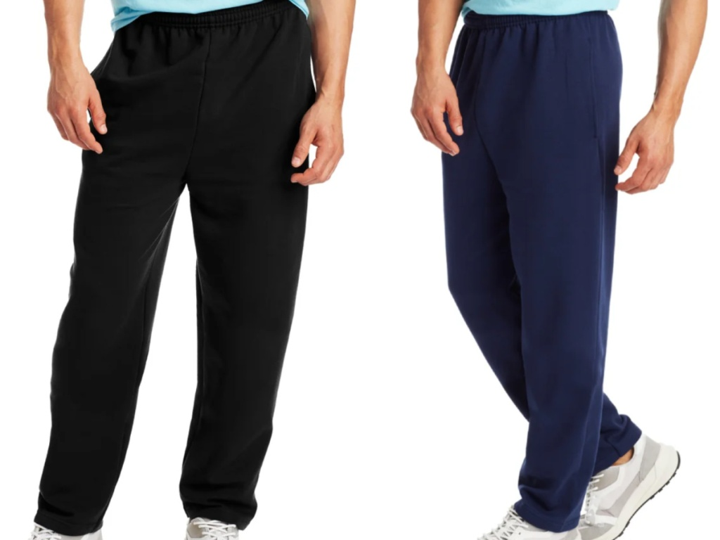 2 men wearing black and navy colored sweatpants