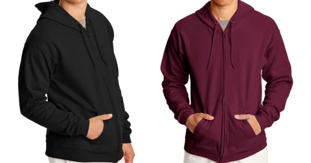 2 men standing next to each other wearing fill zip hoodies